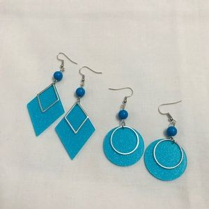 Glossy Diamond and Circle Earrings